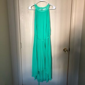 NY&Co Pleated Hi-Lo Halter Dress in Jade Green